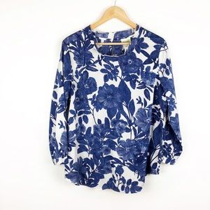 Anthropologie Porridge Blue White Floral Blouse XL